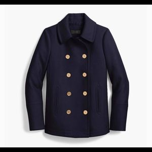 J.crew navy blue wool cashmere coat andover